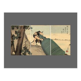 Cartão Postal Samurai que leva o sino gigante cerca de 1890