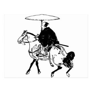 Cartão Postal Samurai que monta um cavalo com guarda-chuva,