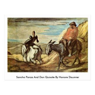 Cartão Postal Sancho Panza e Don Quixote por Honore Daumier