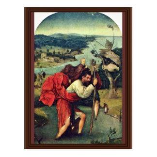 Cartão Postal Santo Christopher. Por Hieronymus Bosch (o melhor