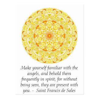 Cartão Postal Santo Francis de Venda CITAÇÃO sobre anjos