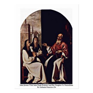 Cartão Postal Santo Jerome com santo Paula Romana