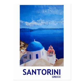 Cartão Postal Santorini azul, piscina - vista de Oia