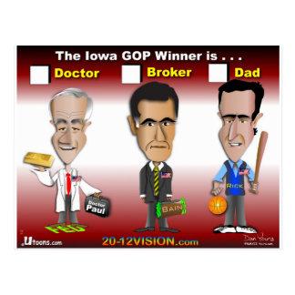 Cartão Postal Santorum, Paul Romney