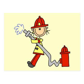 Cartão Postal Sapador-bombeiro com camiseta e presentes da