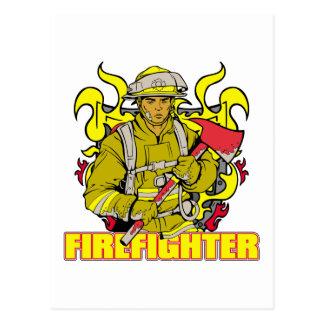 Cartão Postal Sapador-bombeiro de trabalho