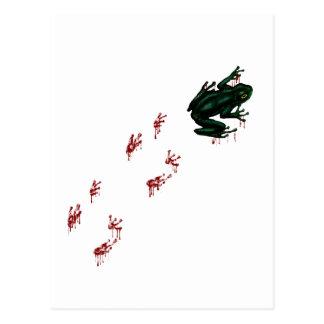 Cartão Postal Sapo de árvore com trilhas sangrentas