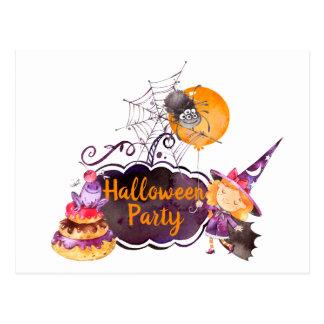 Cartão Postal Sapo e aranha pequenos da bruxa do partido de