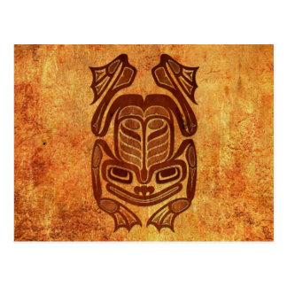 Cartão Postal Sapo nativo áspero da arte do Haida