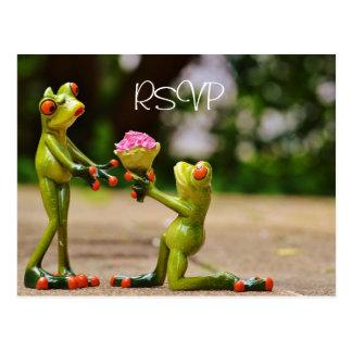 Cartão Postal Sapos engraçados que Wedding RSVP com foto