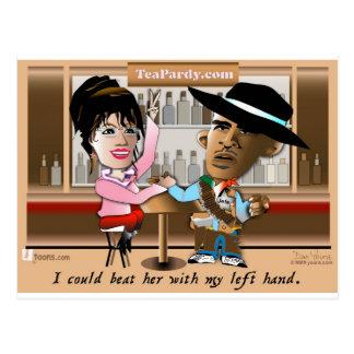 Cartão Postal Sarah Palin e Obama Mano um Mano
