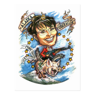 Cartão Postal Sarah Palin, rainha da carne de porco