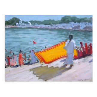Cartão Postal Sari de secagem Pushkar