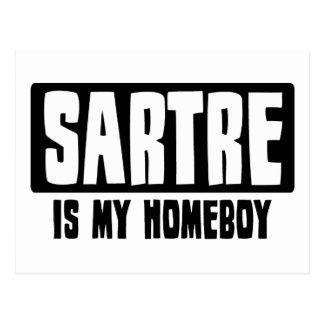 Cartão Postal Sartre é meu ficar em casa
