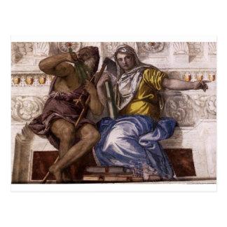 Cartão Postal Saturn (tempo) e Historia por Paolo Veronese