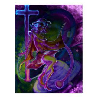 Cartão Postal Saturn ventoso psicadélico