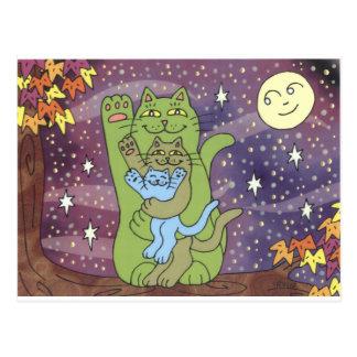 Cartão Postal Saudável, rico, & sábio em uma noite do outono