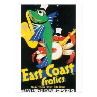 Cartão Postal Saxofone e banjo do jogo dos peixes e do