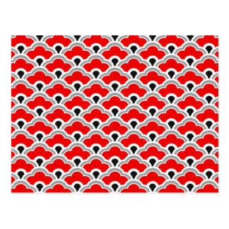 Cartão Postal Scallops chineses de Deco, vermelho, cinza, preto