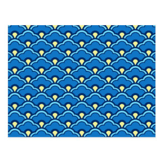 Cartão Postal Scallops de Deco, azul de oceano e índigo chineses