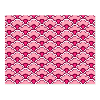 Cartão Postal Scallops de Deco, fúcsia e luz chineses - rosa