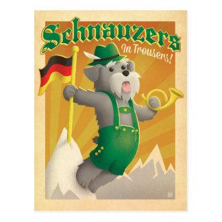 Cartão Postal Schnauzers com calças