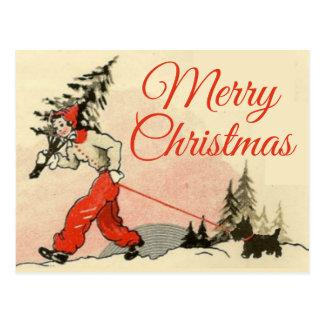 Cartão Postal Scottie retro do olhar e árvore de Natal nova