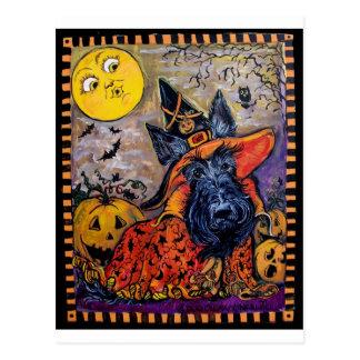 Cartão Postal Scottish Terrier do Dia das Bruxas