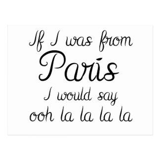 Cartão Postal Se eu era de Paris