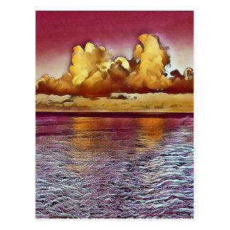 Cartão Postal Seascape artístico bonito do ouro do rosa da