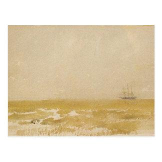 Cartão Postal Seascape com a escuna pelo assobiador