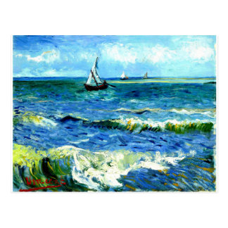 Cartão Postal Seascape em Saintes-Maries, Vincent van Gogh