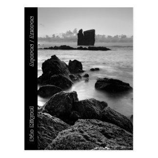 Cartão Postal Seascape preto e branco de Açores