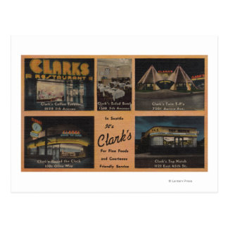 Cartão Postal Seattle, WAAD para os restaurantes de Clark