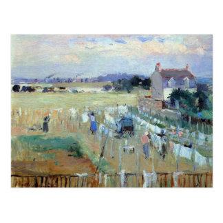 Cartão Postal Secagem da lavanderia por Berthe Morisot