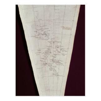 Cartão Postal Seção do mapa da ilha de Ross a pólo sul