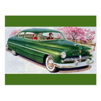 Cartão Postal sedan verde de 1949 Mercury