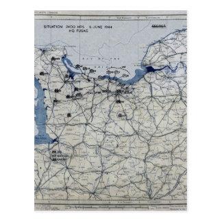 Cartão Postal Segunda guerra mundial dia D mapa 6 de junho de