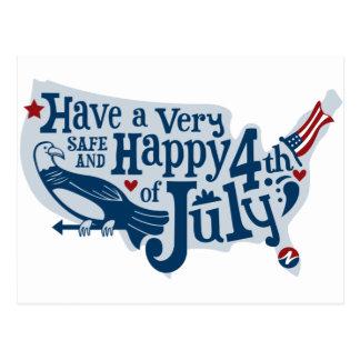 Cartão Postal Seguro e feliz 4o julho