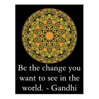 Cartão Postal Seja a mudança que você quer ver no mundo. Gandi