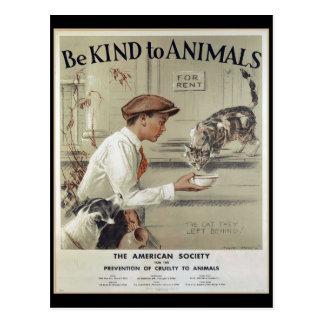 Cartão Postal Seja amável aos animais - poster vintage