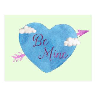 Cartão Postal Seja meu coração azul
