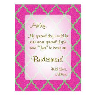 Cartão Postal Seja meu rosa quente Quatrefoil da dama de honra |