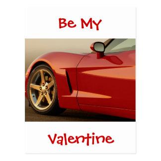 Cartão Postal Seja meu vermelho Corveta dos namorados