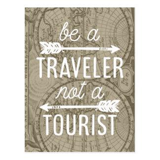 Cartão Postal Seja um viajante não umas citações da tipografia