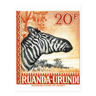 Cartão Postal Selo postal 1942 da zebra de Ruanda Urundi