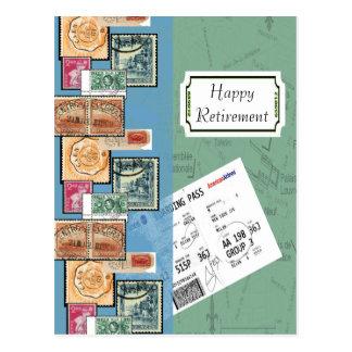 Cartão Postal Selos felizes da aposentadoria do mundo