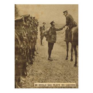 Cartão Postal Senhor Douglas Haig que felicita tropas canadenses
