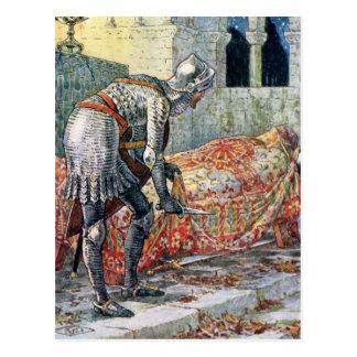 Cartão Postal Senhor Lancelot na capela arriscada