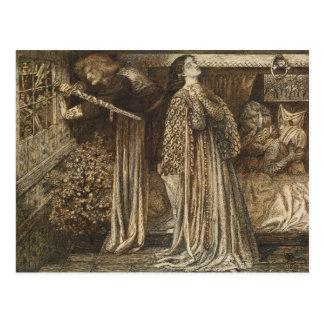 Cartão Postal Senhor Launcelot na câmara Dante Rossetti da